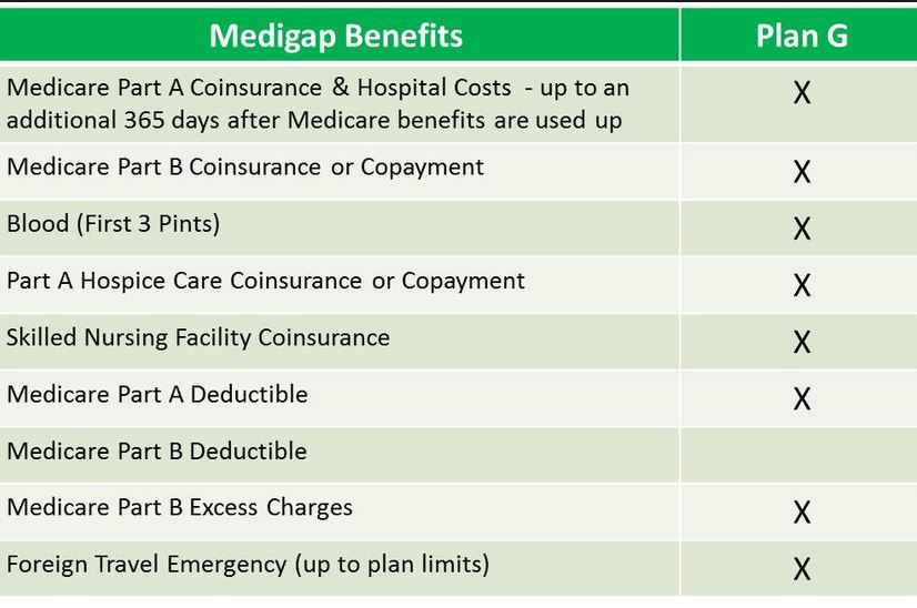 Medicare Supplement Plan G benefits
